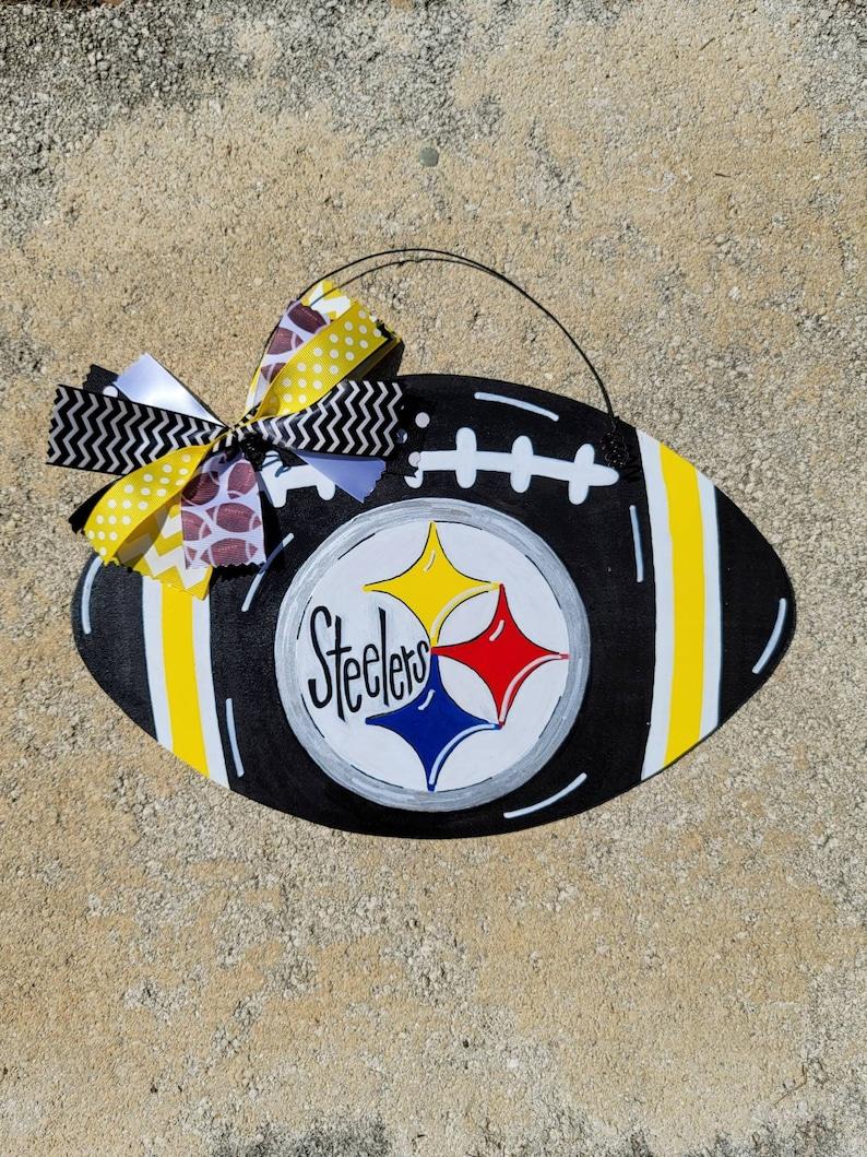 Pittsburgh Steelers Football Door Hanger, College Dorm Decor, Wall Decor,  Home Decor, College Student Gift, Door Decor, Black & Yellow