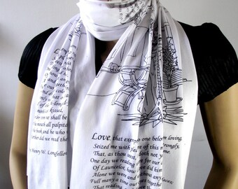 THE DIVINE COMEDY Book Scarf Literary Scarf  Dante Alighieri Poems Scarf -Paolo and Francesca- Christmas Book Lovers Gift Classic Literature