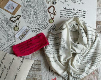 EDGAR ALLAN POE Gifts Annabel Book Scarf Poem Dante Print Jane Austen Book Beau Quote necklace Christmas Gifts for Bookish Book Lovers
