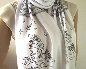 JINGLE BELL Musical Scarf book scarf Music Notes Christmas Gift Scarf Santa Claus Scarf Christmas Song Scarf White Night Jingle bell song