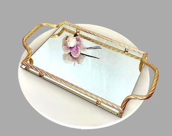 80s Cocktail Tray Keswick Tray Gold Tone  Off White Leicestershire England Heat /& Stain Resistant 15 X 7.5 Poetry Vintage Barware ON SALE