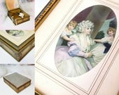 Vintage Jewelry Box - Lovely 18th Century Lady - Elegant Carved Woodwork - Colonial Decor -