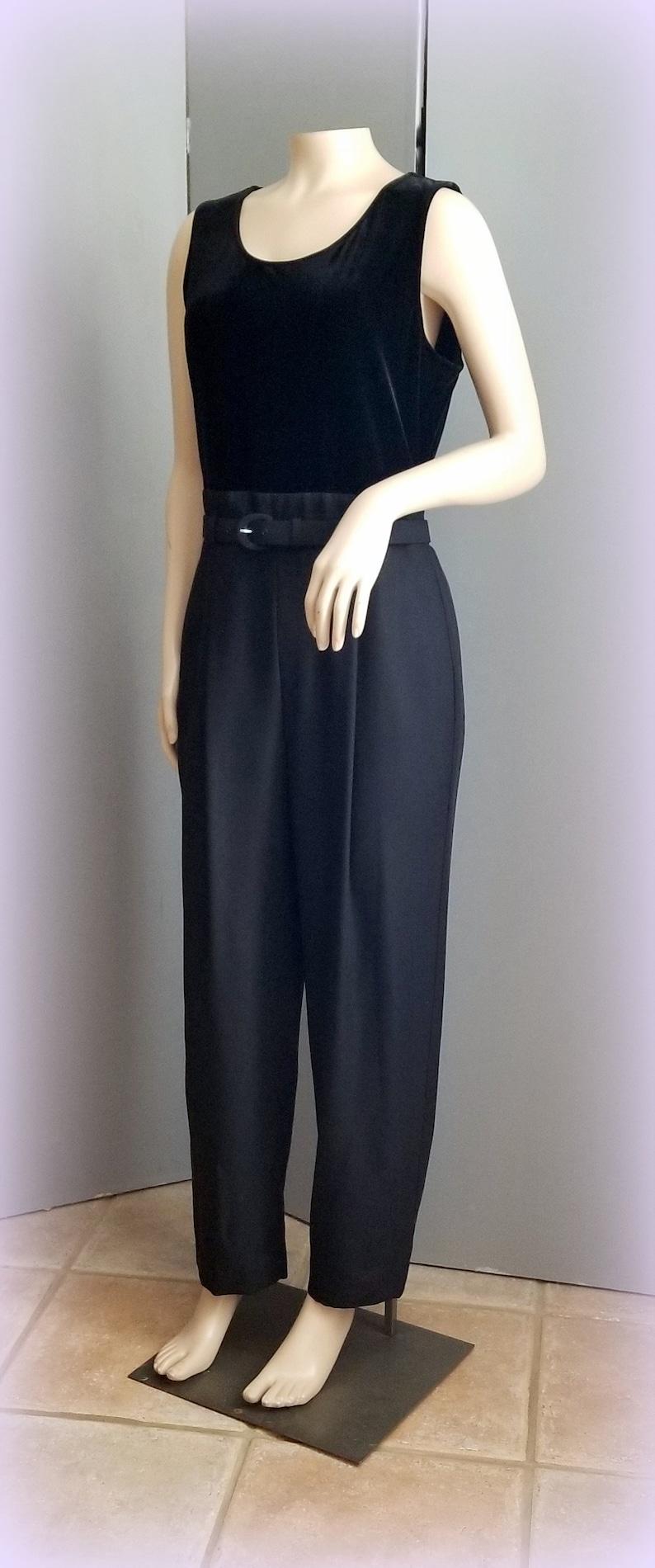 Vintage Jumpsuit 90s Black Jumpsuit /& Jacket JOHN ROBERTS Glittered Sheer Jacket Size SMALL Crepe Pants  Velour Bodice