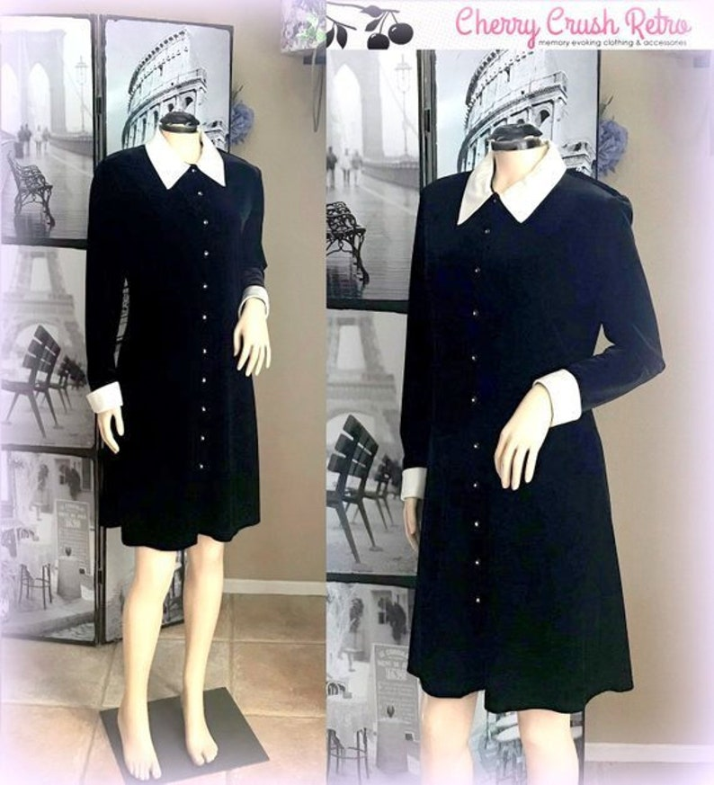 49cbcebdc8 80s Classic Black Velvet Dress White Satin Chelsea Collar