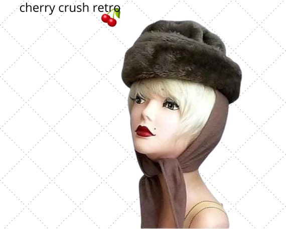 70s Chocolate Faux Fur Scarf Hat - Movie Star Glam