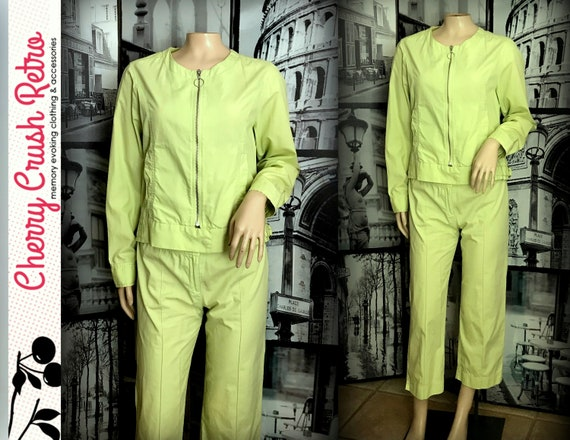 90s Lime Green Cotton Pant & Jacket Set - by SUSAN