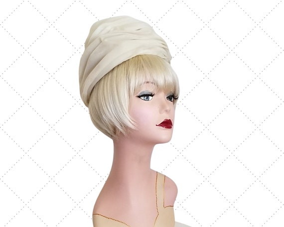 60s CHRISTIAN DIOR Turban - Vanilla Ice Ruched Or… - image 1