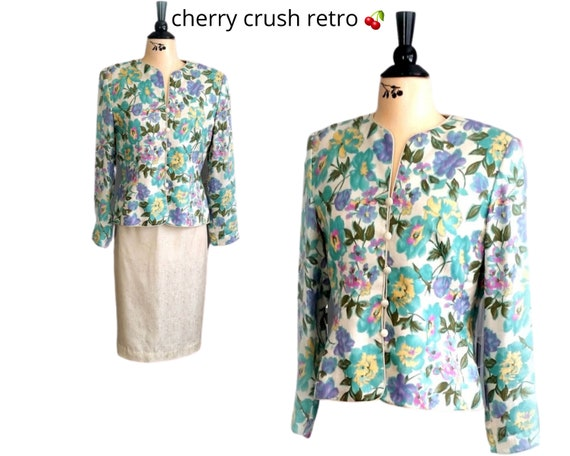 80s Floral Silk Suit - ADRIANNA PAPELL - Lovely Fl