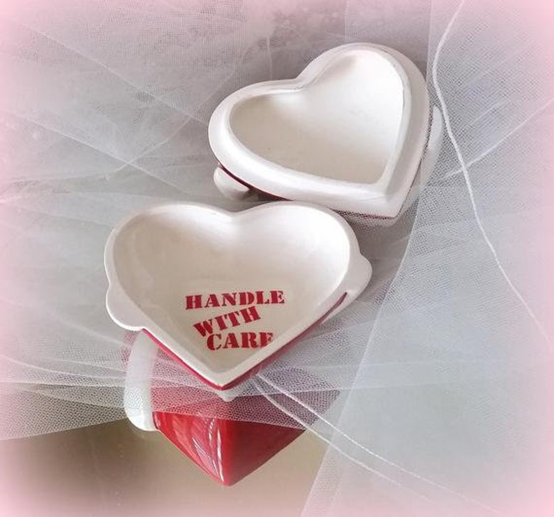 Handle with Care Trinket Dish Loving Hands Vintage Heart Jewelry Dish Inscription Fragile