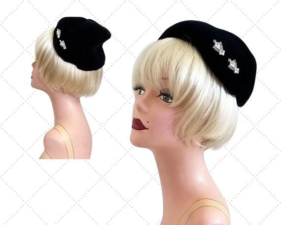 50s Black Velvet Half Hat - Rhinestone Accents - E