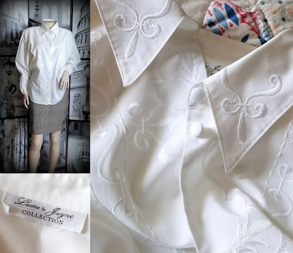 70s White Embroidered Blouse - Long Sleeves - Stra