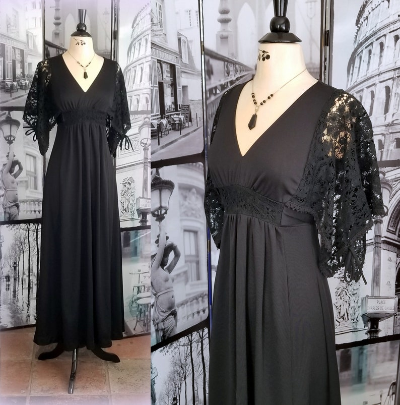 b2a0efcca17 70s Black Maxi Dress Empire Waist with Lace Inset   Matching