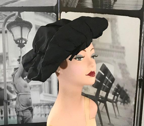 dbfeafa0884 40s LILLY DACHE Black Taffeta Hat Upturned Brim at Front