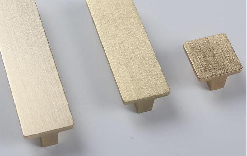 0.6 2.5 3.75 6.3 Drawer Handles knobs Pulls Modern Dresser handle Knob Brushed Gold Kitchen Cabinet Door Handle Pulls 16 64 96 128 160mm