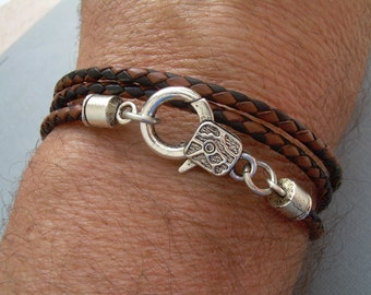 Mens Bracelets Leather, Braided Leather Bracelet, Mens Leather Bracelet, Boyfriend Bracelet, Boyfriend Gift, Mens Jewelry, Mens Gift,