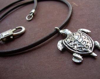 Sea Turtle Pendant on a Leather Necklace, Turtle Necklace, Mens Necklace, Womens Necklace, Sea Turtle, Mens Jewelry, Womens Jewelry