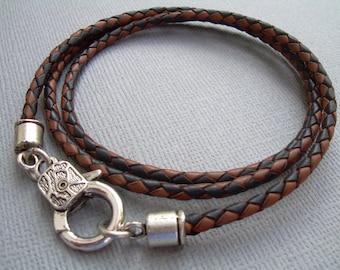Mens Leather Bracelet Triple Wrap Braided Leather Bracelet with Lobster Clasp Wrap Bracelet Braided Mens Bracelet Mens Jewelry Mens Gift