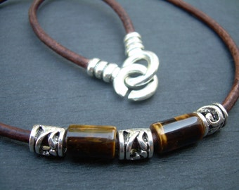 Leather Necklace, Leather Gemstone Necklace, Tiger Eye, Men's Necklace, Men's Jewelry, Men's Leather Necklace, Mens Gift, Gift for him,