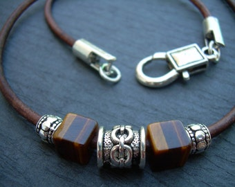 Leather Necklace, Gemstone Necklace, Tiger Eye, Mens Necklace, Mens Jewelry, Mens Gift, Gift for him, Necklace, Groom