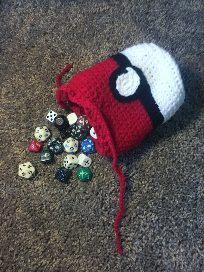 965810bb209 Crochet Pokeball DnD Pathfinder Dungeons and Dragons Dice Bag