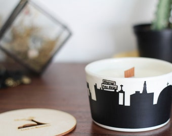 Soya candle Montreal skyline bowl peach passion flower collaboration handmade ceramic mount royal olympique stadium expo 67
