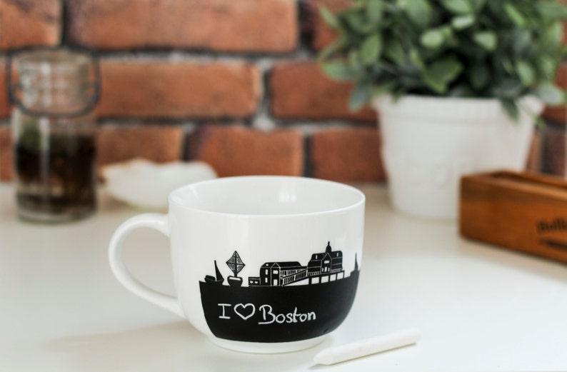 jumbo Boston chalk Mug soup cup travel souvenir tea party image 0