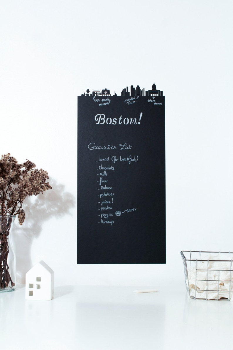 Boston adhesive chalkboard  Skyline of boston massachusetts image 0
