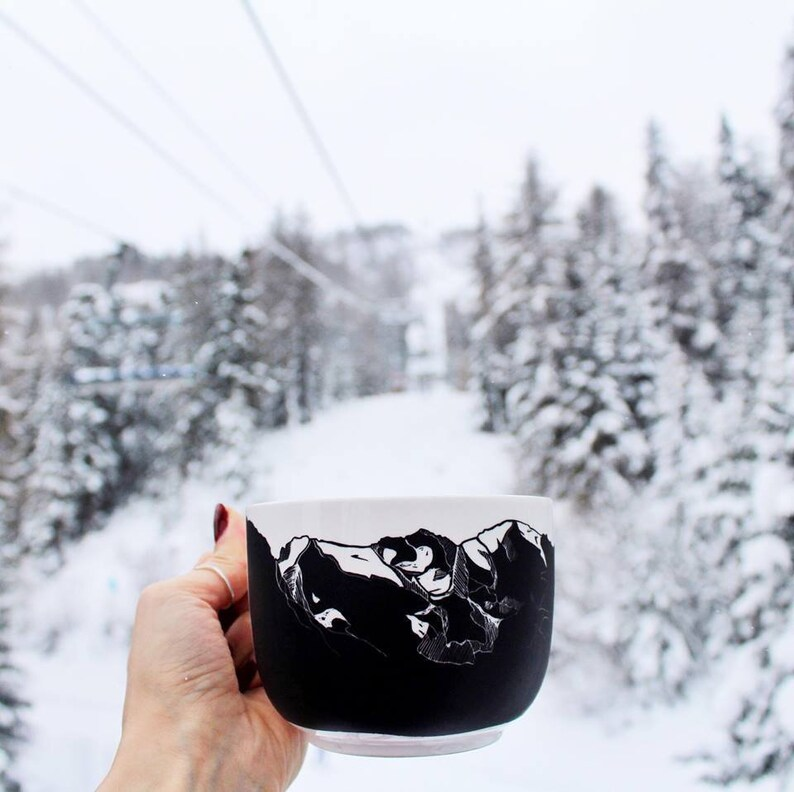 Mountain chalkboard mug travel souvenir Mount Blanc skyline image 0