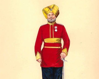 Indian Miniature Painting Sikh Regiment Military Soldier Watercolor on paper