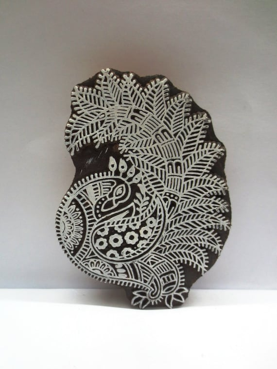 Vintage Peacock Bird Hand Carved Pottery Stamp Fabric Textile Batik Old Indian Printing Block V189