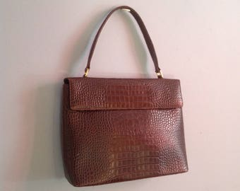 Holt Renfrew Vintage Embossed Genuine Brown Leather Flap Front Bag ~ Classic Tote Bag ~  Oversize Kelly Purse