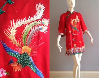 28e4f76bd Vintage Pure Silk Asian Peacock Phoenix Embroidered Mini Dress ~ Hand Made  Formal Chinese Wedding Tunic Top ~ Ethnic Red Blouse