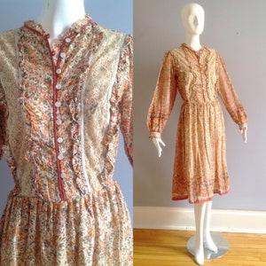 Vintage 1970/'s NOS Dead-Stock Cotton Gauze Made In India Boho Hippie Dress  FREE usa SHIPPING S7