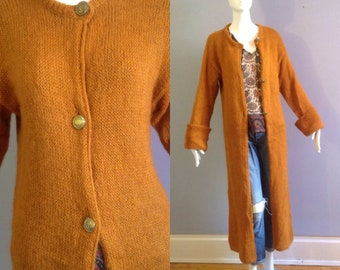 9fde1dcaf1 Vintage Long Burnt Orange Cardigan ~ Cosy Mohair Wool Duster ~ Boho Hippie  Sweater Coat