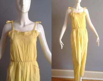 7b795d9eb1 Vintage NOS 70s Boho Hippie Sheer Yellow Cotton JUMPSUIT ~ Made in India  Embroidered Onesie ~ Ethnic Gauze Bohemian One Piece Festival