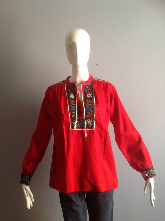 Vintage Hand Embroidered Peasant Blouse ~ Hungari… - image 5