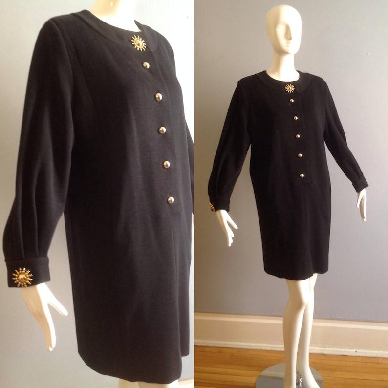 01ce35fae1c Vintage Yves Saint Laurent Rive Gauche Black Wool Knit Dress | Etsy