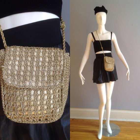 Vintage 50s 60s  Gold Lurex Crochet Purse ~ Made i
