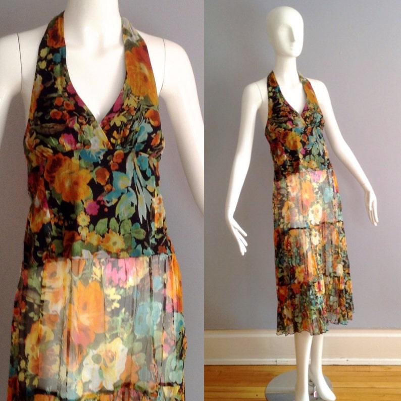 e49d84227f Vintage 80s Sheer Floral Silk Halter Dress Ethnic Print | Etsy