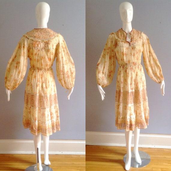 gauze dress  1970s  india cotton  TULIP FIELDS bohemian vintage dress