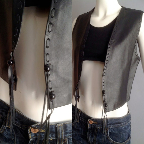 Vintage 70s Genuine Leather Handmade Vest ~ Fitted