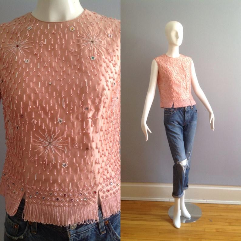 Vintage 1950s Raw Silk /& Sequin Sleeveless Tank  ~ Made in Hong Kong Beaded Formal Shell Shirt ~ Retro Crop Top
