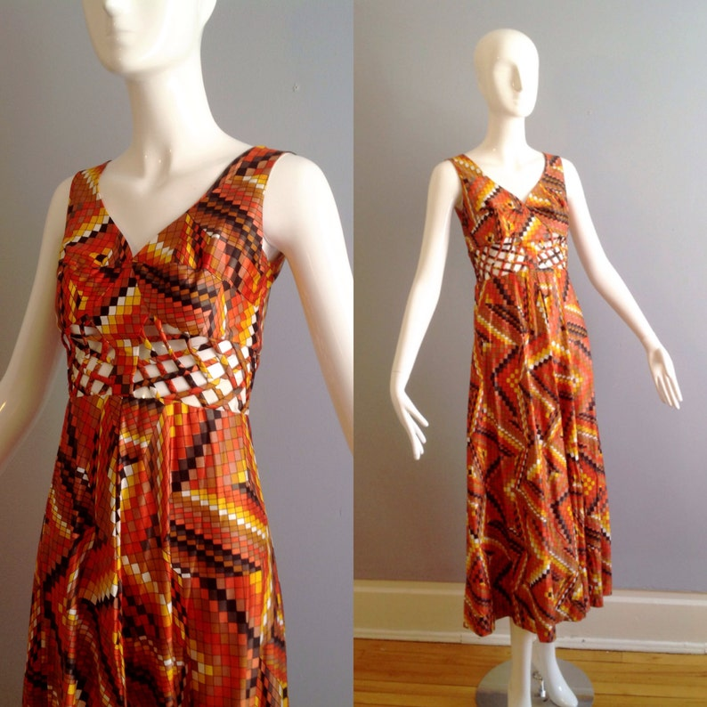 bf4cc10f68ff69 Vintage 70s Mosaic Print Maxi Dress with Sheer Cage Cutout