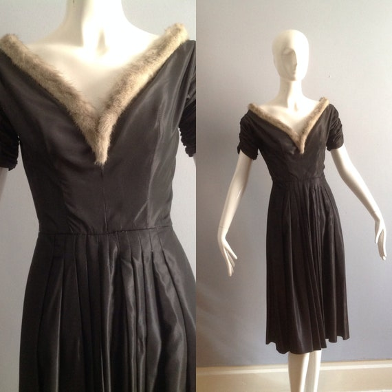 Vintage 1950s Formal Party Dress with Genuine Mink