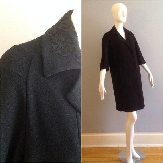 Vintage 40s 50s Retro Black Coat ~ Soutache Collar