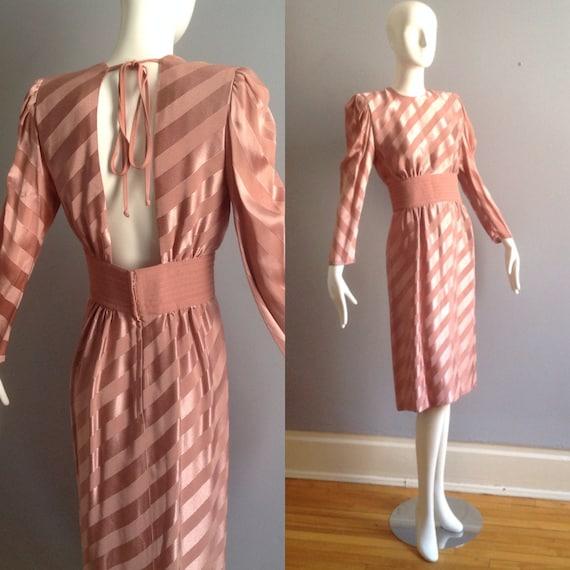 Vintage Wayne Clark Satin Stripe Dress ~ Open Back