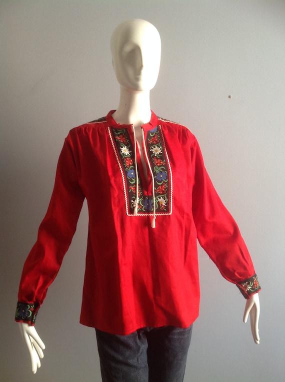 Vintage Hand Embroidered Peasant Blouse ~ Hungari… - image 4