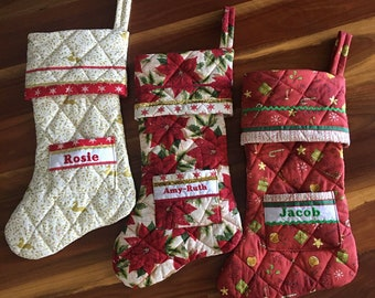 Christmas Stocking Traditional Classic Personalised  - Custom, Handmade, Quilted, Quality