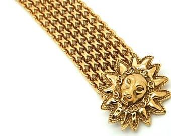 Authentic CHANEL 1991 Vintage Paris Leo Lion CC Wide Gold Plate Bracelet
