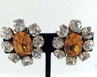 Authentic CHANEL 1984 Vintage Chic Citrine Crystal and Clear Crystal Clip On Earrings RARE